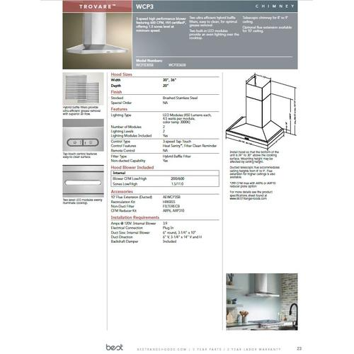 Trovare 36-in. 600 CFM Stainless Steel Chimney Range Hood with LED Lights