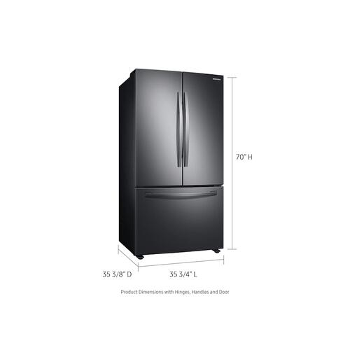 Samsung - 28 cu. ft. Large Capacity 3-Door French Door Refrigerator with AutoFill Water Pitcher in Black Stainless Steel