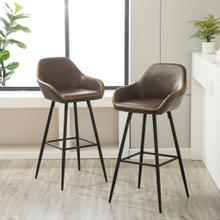 See Details - Horgen Contemporary Faux Leather Batstools, Brown, Set of 2