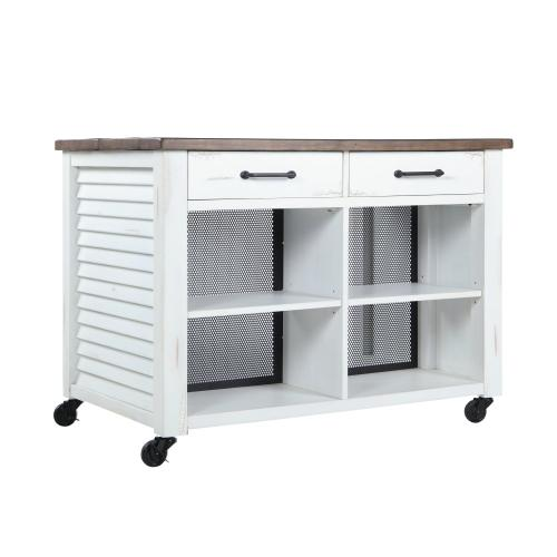 Emerald Home Ac445-07 Whitmire Kitchen Island, White