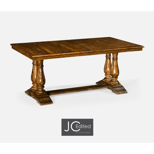 """71"""" Country Walnut Rectangular Extending Dining Table"""