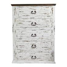 White Scraped 5 Drawer Chest
