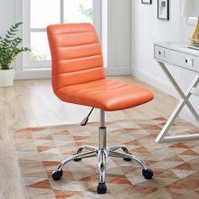 See Details - Ripple Armless Mid Back Vinyl Office Chair in Orange