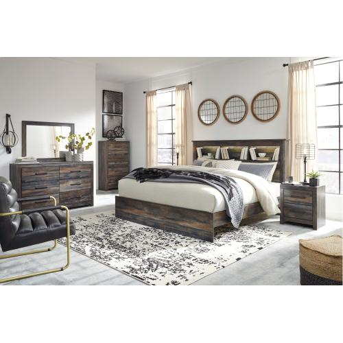 King Panel Bookcase Bed With Mirrored Dresser, Chest and Nightstand
