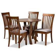 Baxton Studio Marian Modern and Contemporary Grey Fabric Upholstered and Walnut Brown Finished Wood 5-Piece Dining Set