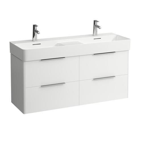 Traffic Grey Vanity unit, 4 drawers, incl. 2 drawer organizers, matching double washbasin 814282