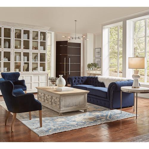Classic Lounge Tufted Sofa, Blue Velvet