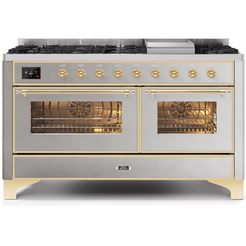 Ilve - Majestic II 60 Inch Dual Fuel Natural Gas Freestanding Range in Stainless Steel with Brass Trim