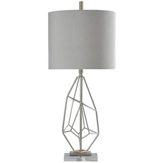 Silver Leaf  Contemporary Steel and Acrylic Table Lamp  150W  3-Way  Hardback Shade