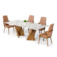 Modrest Cadence - Modern Walnut & Marble Dining Table