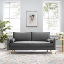 Revive Performance Velvet Sofa in Gray