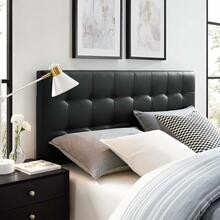 Lily Queen Upholstered Vinyl Headboard in Black