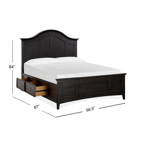 Complete Queen Arched Bed with Storage Rails