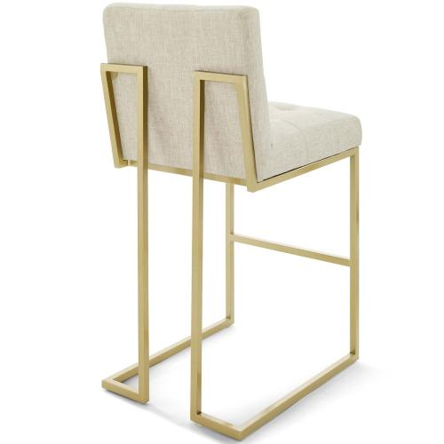 Privy Gold Stainless Steel Upholstered Fabric Bar Stool in Gold Beige