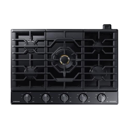 """Samsung - 36"""" Chef Collection Gas Cooktop with 22K BTU Dual Power Burner in Matte Black Stainless Steel"""