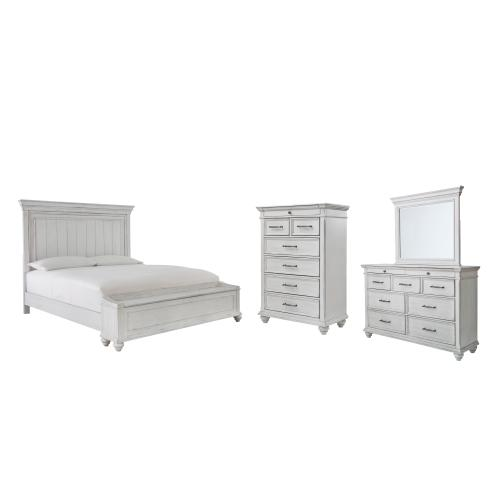 Ashley - Queen Panel Bed With Storage With Mirrored Dresser and Chest