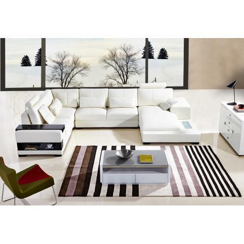 Divani Casa Diamond Modern White Bonded Leather Sectional Sofa