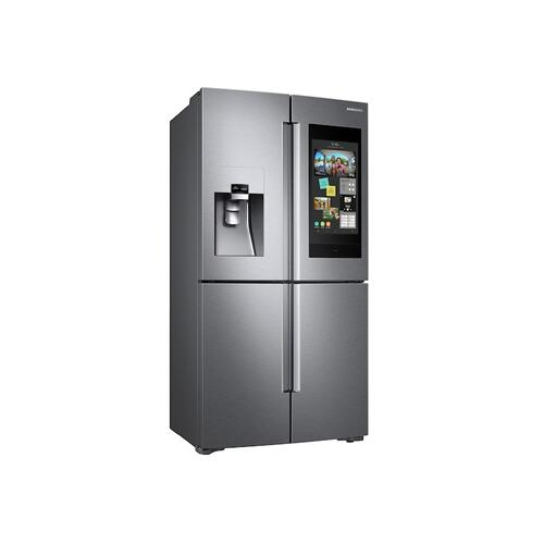 Samsung - 22 cu. ft. Family Hub™ Counter Depth 4-Door Flex™ Refrigerator in Stainless Steel
