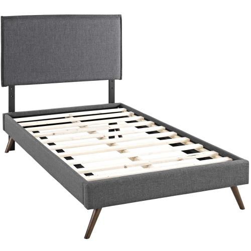 Amaris Twin Fabric Platform Bed with Round Splayed Legs in Gray