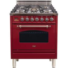 Nostalgie 30 Inch Gas Natural Gas Freestanding Range in Burgundy with Bronze Trim