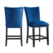 Francesca Blue Velvet Counter Height Chair Set Product Image