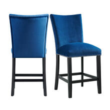 Francesca Blue Velvet Counter Height Chair Set