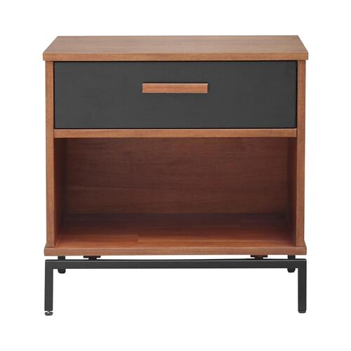 Product Image - Bellevue KD Nightstand/ Side Table 1 Drawer Graphite Metal Legs, Monterey Brown