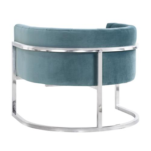 Magnolia Sea Blue Chair with Silver Base