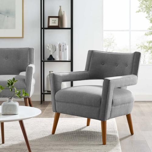 Sheer Upholstered Fabric Armchair in Light Gray