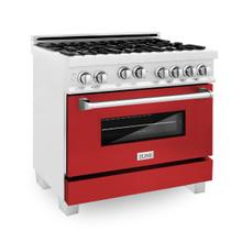 ZLINE 36 in. Professional 4.6 cu. ft. 4 Gas on Gas Range in DuraSnow® Stainless Steel with Red Matte Door (RGS-RM-36)