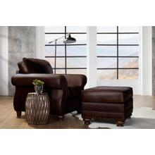 Leinster Faux Leather Upholstered Nailhead Chair and Ottoman in Espresso