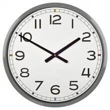 GREY  22in w X 22in ht X 4in d  Metal Wall Clock with Black Numbers and White Face
