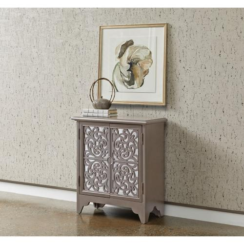 Ornate Mirrored Two Door Accent Chest in Metallic Silver