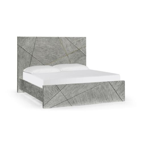 Geometric Dark French Oak US King Bed