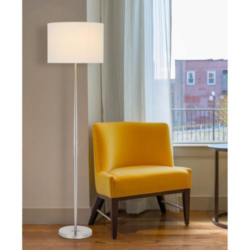 150W 3 way Sterling metal floor lamp with hardback drum shade