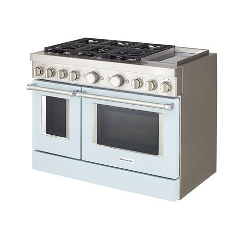 KitchenAid® 48'' Smart Commercial-Style Dual Fuel Range with Griddle - Misty Blue