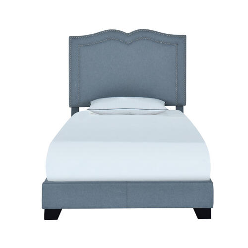 Accentrics Home - Glam Shaped Double Nailhead Trim Twin Upholstered Bed in Classic Blue