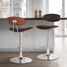 Erik Adjustable Brown Faux Leather Swivel Barstool with Chrome Base