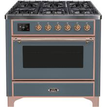 See Details - Majestic II 36 Inch Dual Fuel Natural Gas Freestanding Range in Blue Grey with Copper Trim