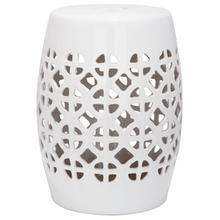 See Details - White Circle Lattice Garden Stool - White