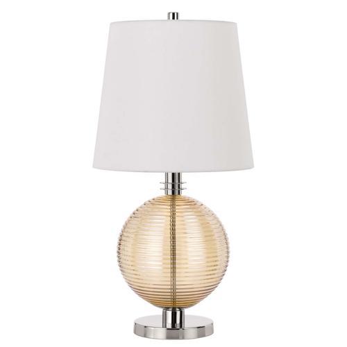 150W 3 way Salisbury glass table lamp with hardback fabric shade