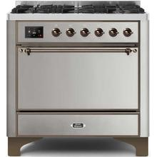 View Product - Majestic II 36 Inch Dual Fuel Liquid Propane Freestanding Range in Stainless Steel with Bronze Trim