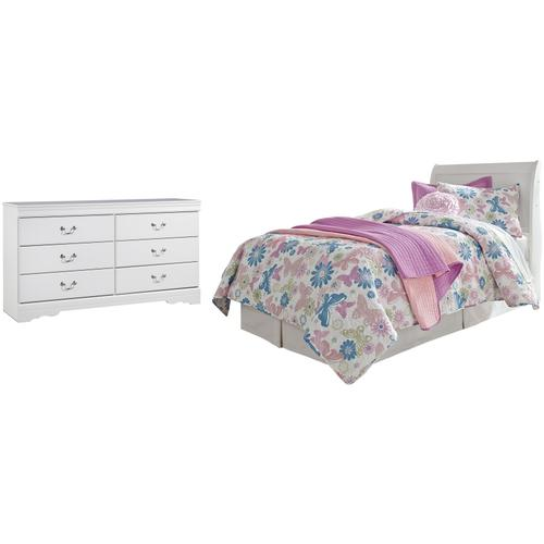 Twin Sleigh Headboard With Dresser