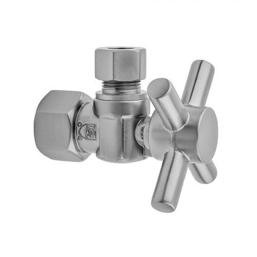 """Jaclo - Polished Chrome - Quarter Turn Angle Pattern 3/8"""" IPS x 3/8"""" O.D. Supply Valve with Contempo Cross Handle"""