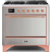 View Product - Majestic II 36 Inch Dual Fuel Liquid Propane Freestanding Range in Stainless Steel with Copper Trim