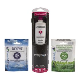 everydrop® Refrigerator Water Filter 5 - EDR5RXD1 (Pack of 1) + Refrigerator FreshFlow™ Air Filter + FreshFlow Produce Preserver Refill - Multi-Pack