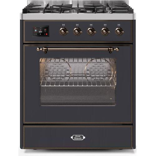 Majestic II 30 Inch Dual Fuel Liquid Propane Freestanding Range in Matte Graphite with Bronze Trim