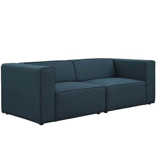 Modway - Mingle 2 Piece Upholstered Fabric Sectional Sofa Set in Blue