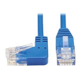 Left-Angle Cat6 Gigabit Molded Slim UTP Ethernet Cable (RJ45 Left-Angle M to RJ45 M), Blue, 15 ft.