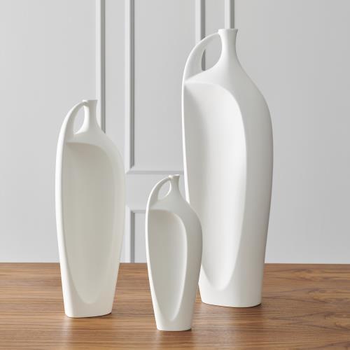 Indentation Vase-Matte White-Lg